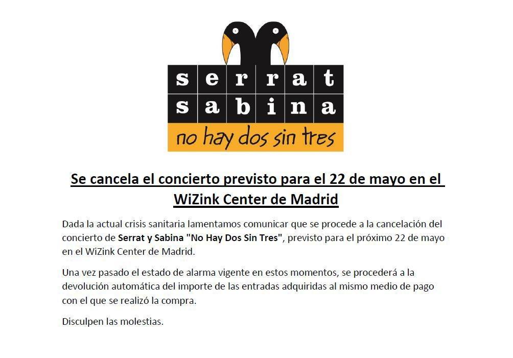 Se cancela el concierto previsto para el 22 de Mayo en el WiZink Center de Madrid